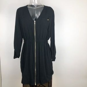 Guess Womens Large Black Dress V Neck Gold Zip